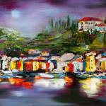 """""""MoonOverPortofino-Oil-8-27-2016-16by48_6000"""" by GinetteCallaway"""