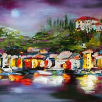 Impressionist Portofino Panorama Italy Travel Art Prints & Posters by Ginette Callaway