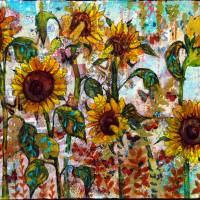 Sunflower art | Sunflower painting Art Prints & Posters by Miriam Schulman