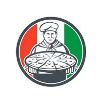 Italian Chef Cook Serving Pizza Circle Retro