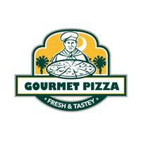 Gourmet Pizza Chef Palmetto Trees Shield Retro