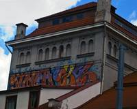 Backside of the Russian Theatre, with graffiti