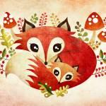 """Fox Mom & Pup"" by sandygrafik_arts"