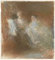 A. Grandmont with a book and two women, Bramine Hu