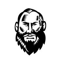 Male Big Beard Woodcut