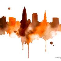 Cleveland Skyline Art Prints & Posters by David Rogers
