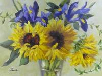 Sunflowers and Irises