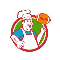 Fat Chef Cook Twirling Football Circle Retro