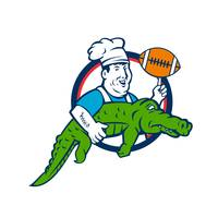 Chef Twirling Football Carry Alligator Circle Retr