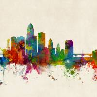 Des Moines Iowa Skyline Art Prints & Posters by Michael Tompsett
