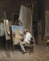 CARL WERNER ; PAINTER IN HIS WORKSHOP ; INSCRIBED