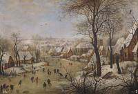 snowy landscape with skaters and trap birds, BRUEG