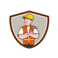 Builder Carpenter Folded Arms Hammer Crest Cartoon