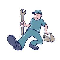 Mechanic Spanner Foot Forward Cartoon