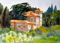 Villa at Vagliagli, Watercolor