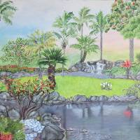 Tropical Landscape Painting  Kauai Hawaii Art Prints & Posters by Velvet Tetrault