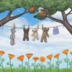 """""""robins, poppies, & teddy bears on the line"""" by sarahkdesigns"""