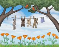 robins, poppies, & teddy bears on the line
