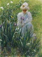 Charles Courtney Curran 1861 - 1942 THE IRIS BED
