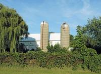 Vintage White Barn with Twin Silos - 4160