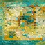 """Tile Art #5, 2016. Turquoise Gold Mosaic"" by MarkLawrence"