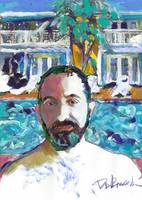 RD artist self portrait poolside