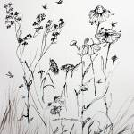 """Wildflowers Floral Ink Line Art"" by GinetteCallaway"