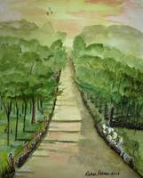 country lane watercolor