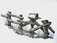 Country Rail Fence Mailbox Drawing