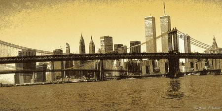 New York Downtown Manhattan Skyline 1 - Drawing
