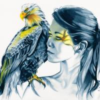 Eagle Totem No.2 Art Prints & Posters by Michelle Tracey