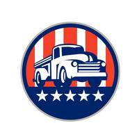 Vintage Pick Up Truck USA Flag Circle Retro