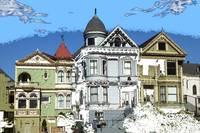 San Francisco Alamo Square - Digital Art Painting