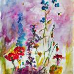 """Wildflower Gathering Watercolor and Ink"" by GinetteCallaway"