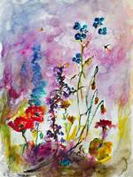 Wildflower Gathering Watercolor and Ink