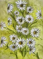 Daisies Ink and Watercolor Painting