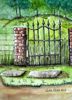 Iron Gate Ink and Watercolor Painting