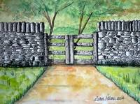 stone wall Ink and Watercolor Painting