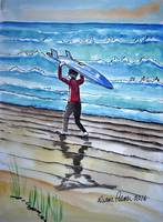 Surf is Up Ink and Watercolor Painting