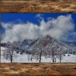 """Snowy_Boulder_Flatirons_Rustic_Wood_Winow"" by lightningman"