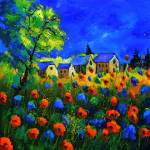"""blue red poppies77"" by pol"