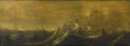 Ships in a Storm, attributed to Andries van Eertve