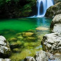 Sum Waterfall in Vintgar Gorge, near Bled, Sloveni Art Prints & Posters by Ian Middleton