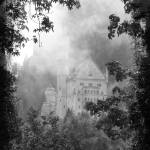 """Castle in the Clouds in Bavaria - Black and White"" by Groecar"