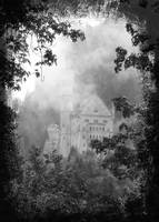 Castle in the Clouds in Bavaria - Black and White