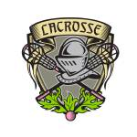 """Knight Armor Lacrosse Stick Crest Woodcut"" by patrimonio"