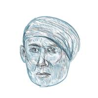 Old Man Wearing Turban Drawing
