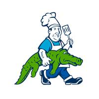 Chef Alligator Spatula Walking Cartoon