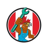 Hawk Mechanic Spanner Canada Flag Cartoon