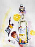 Still Life Bottle French Lemonade Artist Tools